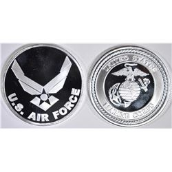 AIR FORCE & MARINES ONE OUNCE .999 SILVER BARS