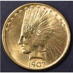 1907 $10 GOLD INDIAN CH/GEM BU