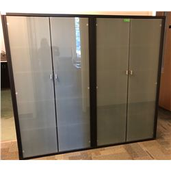 GR OF 2 GLASS FRONT OFFICE STORAGE UNITS