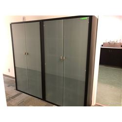GR OF 2 GLASS FRONT OFFICE STAGE UNITS