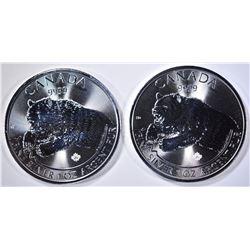2-GEM BU 2019 CANDA ROARING GRIZZLY COINS