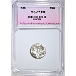 1936 MERCURY DIME, PNA SUPERB GEM BU FB