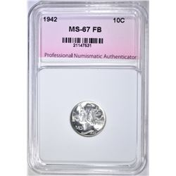 1942 MERCURY DIME, PNA SUPERB GEM BU FB