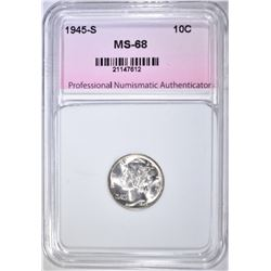 1945-S MERCURY DIME, PNA SUPERB GEM + BU