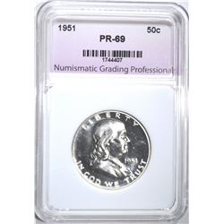 1951 FRANKLIN HALF DOLLAR, NGP SUPERB GEM PR++