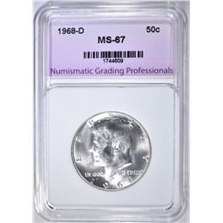 1968-D KENNEDY HALF DOLLAR NGP SUPERB GEM BU
