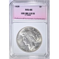 1928 PEACE DOLLAR, PNA GEM BU