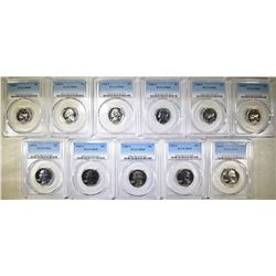 11- PCGS GRADED COINS ALL 1968-S PR68 6- NICKELS &