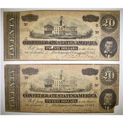 2-1864 CONFEDERATE $20 CURRENCY NOTES