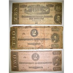 2-$2.00 & 1-$10.00 CONFEDERATE CURRENCY