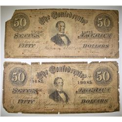 2-LOW GRADE 1864 $50 CONFEDERATE CURRENCY PIECES
