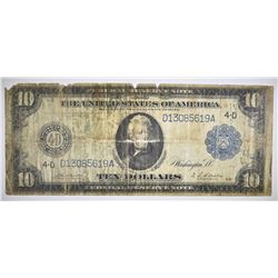 1914 $10 FEDERAL RESERVE NOTE, LOW GRADE HOLES