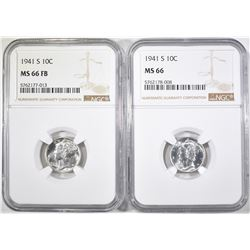 2-1941-S MERCURY DIMES, NGC MS-66