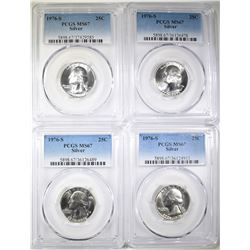 4-1976-S SILVER WASHINGTON QUARTERS, PCGS MS-67