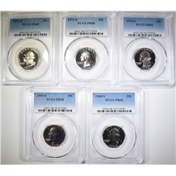 1968-S THRU 1972-S WASH QUARTERS, PCGS PR-68
