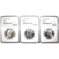 (3) 1966 SMS KENNEDY HALVES NGC MS 67