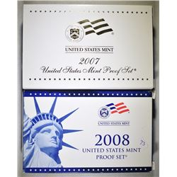 2007 & 2008 U.S. PROOF SETS ORIG PACKAGING