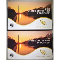 2013 & 2016 U.S. PROOF SETS ORIG PACKAGING