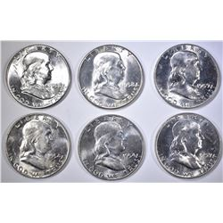 6-BU FRANKLIN HALF DOLLARS: