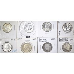 MIXED GROUP OF QUARTERS, BARBER & WASHINGTON