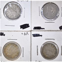 4 LIBERTY NICKELS 2 1883 N/C, 1897, 99
