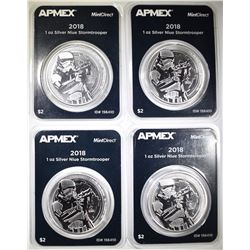 4 2018 1 OZ SILVER $2 NIUE STORMTROOPERS