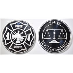 POLICE & FIRE 1-OUNCE .999 SILVER ROUNDS