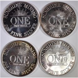 4-ONE OUNCE .999 SILVER ROUNDS SHUNSHINE MINT