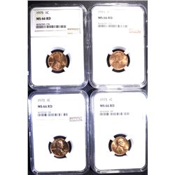 4 -NGC MS-66 RD LINCOLN CENTS: 2-1973,