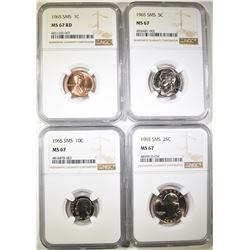 1965 SMS CENT, NICKEL, DIME & QUARTER NGC MS-67