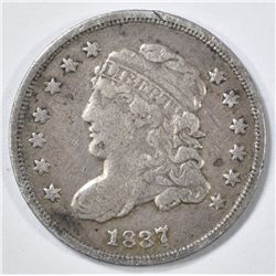 1837 BUST HALF DIME VF