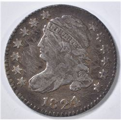 1824/2 BUST DIME VF scratches