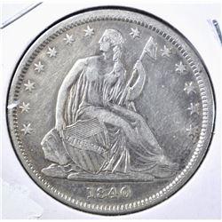 1840 SEATED LIBERTY HALF DOLLAR XF