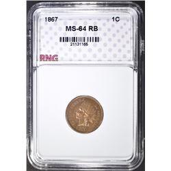 1867 INDIAN HEAD CENT, RNG CH/GEM BU RB