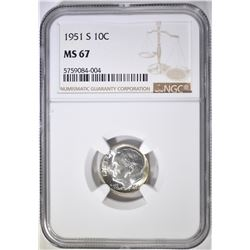1951-S ROOSEVELT DIME, NGC MS-67