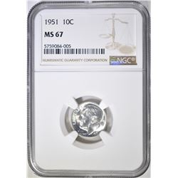 1951 ROOSEVELT DIME, NGC MS-67