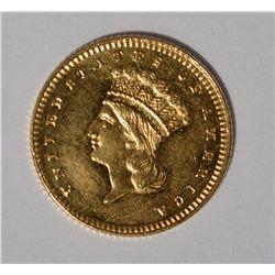 1867 $1 GOLD CH BU