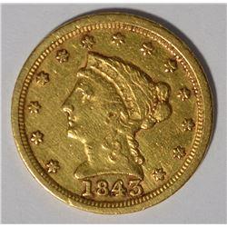 1843-C $2.5 GOLD LIBERTY XF