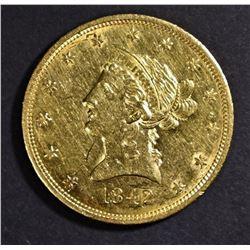 1842 $10 GOLD LIBERTY AU/BU