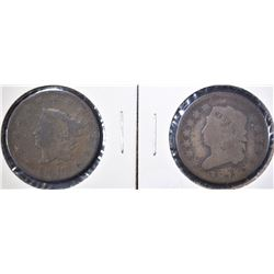 1814 GOOD & 1817 13 STAR VG LARGE CENTS