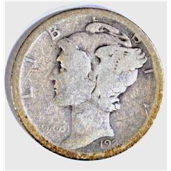 1921-D MERCURY DIME, G+