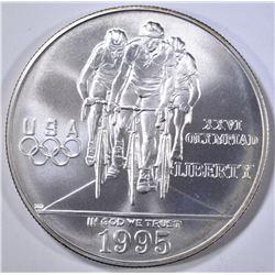 1995 OLYMPIC CYCLING UNC SILVER DOLLAR