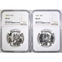 1967 & 69-D KENNEDY HALF DOLLARS, NGC MS-65