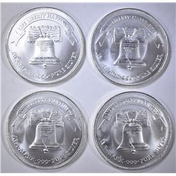 4-LIBERTY ONE OUNCE .999 SILVER ROUNDS