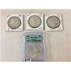 Group of Four Morgan Dollars