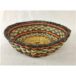 "Colorful Vintage Hopi Wicker ""Peach"" Basket"