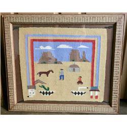 Framed Navajo Pictorial Textile