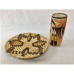 Vintage Hopi Basket and Pottery Cylinder
