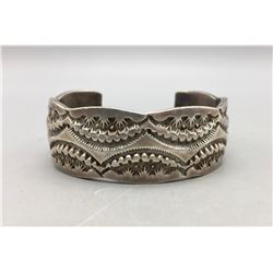 Heavy, Deeply Stamped Sterling Silver Bracelet