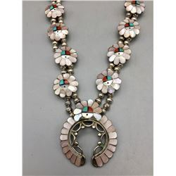 Vintage Zuni Inlay Squash Blossom Style Necklace